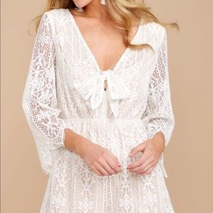 Red dress boutique white lace romper! Tags on!